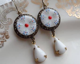 Vintage Glass Button Earrings- Natalie