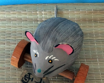 Vintage paper mache toy rat or mouse on wheels from Okayama Japan