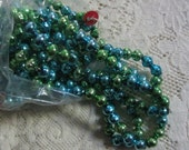 Vintage Mercury Glass Blue and Green Bead Garland Christmas Tree Garland Decoration Two Bags