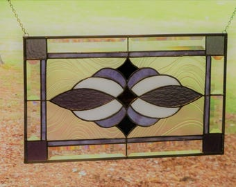 Purples, White  & Brown, Stained glass and Beveled Panel