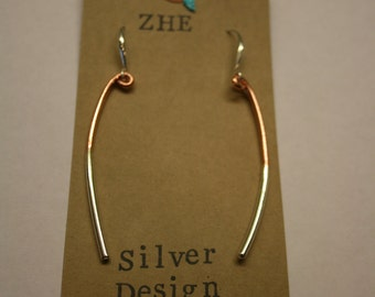 Sterling silver and copper drop earrings