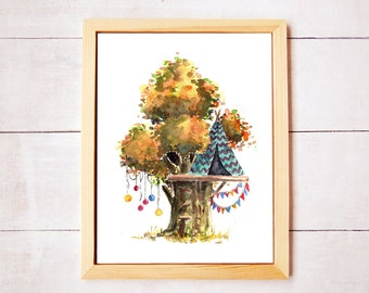 Treehouse Series 4 Watercolor Art Print - Digital Download