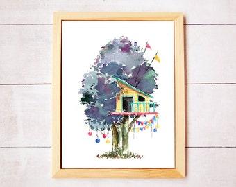 Treehouse Series 7 Watercolor Art Print - Digital Download