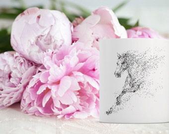 Horse in Dot Matrix Coffee Mug | Horse Coffee Mug | Unique Coffee Mug | Running Horse Coffee Mug | 11 oz Mug 15oz Mug