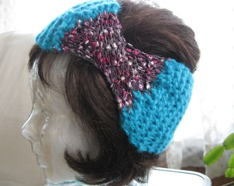 Hand Knit Headband inTurquoise with Ladder Yarn in Shades of Pink and Burgundy
