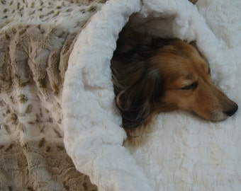 Dog Bed - Snuggle Sack - Plush Minky Fur - 23 x 26 - Artic Lynx in Ice and Taupe - Includes Embroidered Personalization