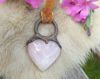 Electroformed Rose Quartz Heart Necklace | Electroplated Gemstone Heart | Love and Healing Chakra Jewelry