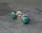 Turquoise Sterling Silver Earrings 6mm Cabochon Round Natural Gemstone Post Stud Handmade Jewelry Serrated Bezel Antiqued Oxidized Finish