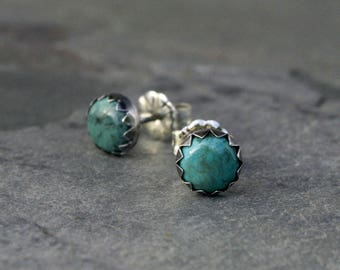 Turquoise Stud Earrings Sterling Silver 6mm Cabochon Round Natural Gemstone Post Handmade Jewelry Serrated Bezel Antiqued Oxidized