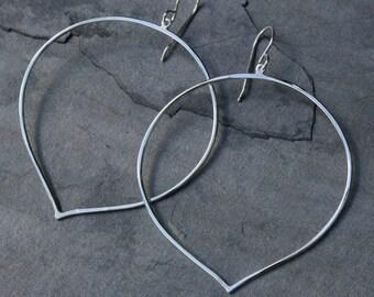 Large Lotus Petal Hoop Earrings Sterling Silver Eternity Lotus Flower Bloom Dangle Metalsmith Handmade Jewelry