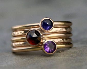 14k Gold Filled Stacking Rings, Gemstone Faceted Rose Cut Cabochon, Five Ring Set, Birthstone Mother's Day Gift 14 Karat Gold Fill Stackable