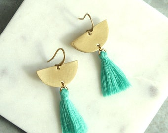 Chandelier Tassel Earrings, Aqua Tassel and Brass Crescent