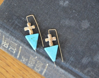 Cross and triangle modern earrings. Turquoise colored howlite