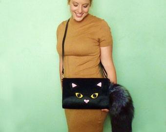 Bright Eyes Bushy Tail Clutch Handbag