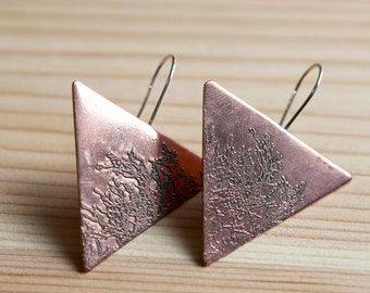 Etched Branch Triangle Earrings