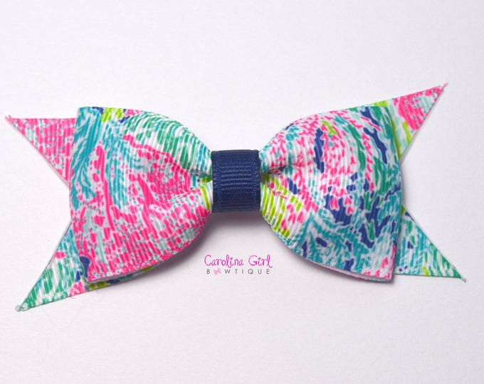"""Lets Cha Cha Navy Colorway ~ 3.5"""" Hairbow ~ Lilly Inspired ~ Small Hair Bow ~ Girls Barrette ~ Toddler Bow ~ Hair Clip ~ Girls Hair Bow"""
