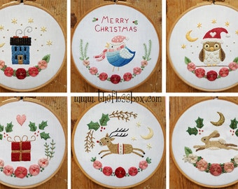 Christmas Florals Embroidery Pattern Collection