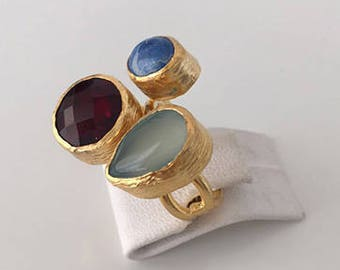 Triple Gold plated  Garned,Lapiz  and  Jade  ring