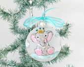 Baby's First Christmas Bulb, Baby Elephant, Baby Christmas Ball, Baby Bulb to Personalize, Baby First Xmas Bulb, Handpainted Baby Elephant