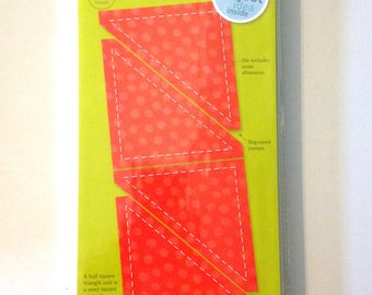 "AccuQuilt Go! Fabric Cutting Die half Square 3"" Finished triangle 55009 Block E"