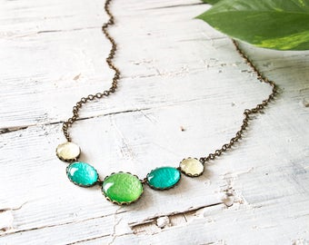 Green and Teal Necklace, Statement Necklace , Minimalist Necklace, Colorful Necklace, Glass Dome Necklace, Bib necklace