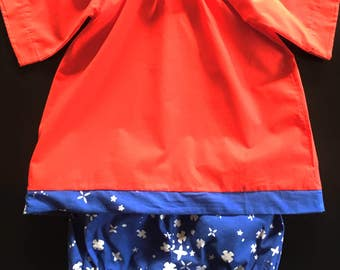 On Sale AnaisKids Poppy Red and Indigo Dress with Bloomers