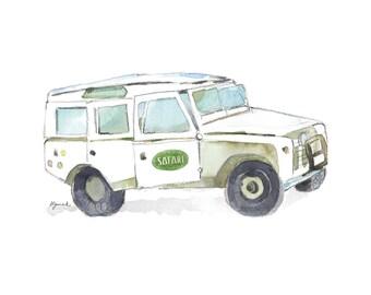 Safari truck print - Safari nursery print - Jeep truck print - Kids safari wall decor - Safari theme
