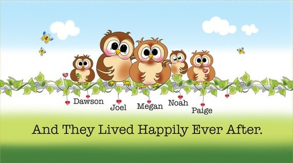 PERSONALIZED Owl Family Art Panel