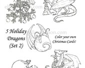 Digital Holiday Dragon Coloring Collection Set 2 - print and color your own Christmas Cards!