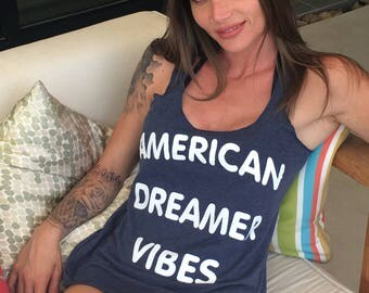 American Dreamer Vibes. Slouchy Racerback Tank. Made in the USA. 8 Colors to Choose From. 4th of July Tank. Summer Tank Top. Patriotic Tank.