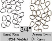 "100 PIECES - 3/4"" - Split D Rings, Metal, NON welded, .75, 19.05mm, NICKEL Plate or Antique Brass, 11 gauge - 3/4"" x 1/2"""