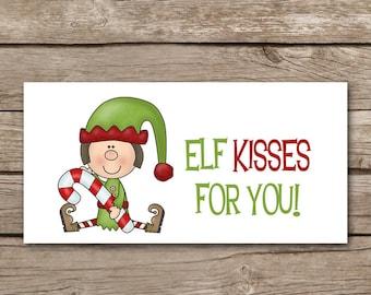 Elf Treat Bag Topper, INSTANT DOWNLOAD, Christmas Treat Bag Topper, Holiday Treat Bag Topper, Elf Sticker, Elf Tag, Elf Label, Christmas Elf