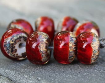 Boro Beads - Lampwork Beads - Handmade Glass Beads - Dark Red and Leopard Print