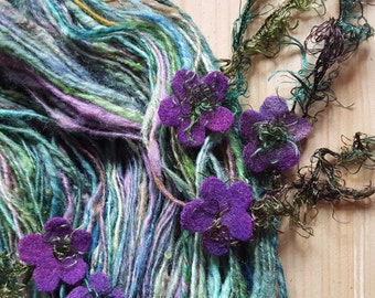 Art yarn handspun Wild Violets 3.8 oz. rustic wool with felted flowers