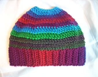 Bun Beanie - Pony Tail Hat - Messy Hair Hat - Womens Beanie - Multi Stripe Apple Orchard - FREE laundry bag - Ready To Ship