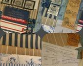 French Sampler. Art Journal Inspiration Supply Kit. French General textile samples. stamped tags. ribbon. paper ephemera. vintage book board