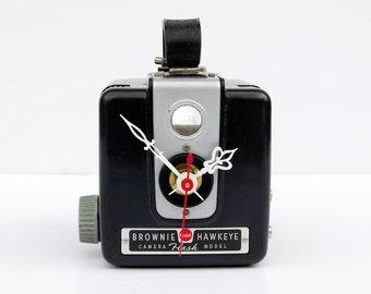 Camera Clock,  photographers gift, Recycled Kodak Brownie timepiece, film buff gift, art decco clock, unique vintage gift, repurposed clock