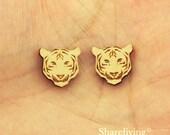 6pcs Wooden Tiger Head Charm, Wood Tiger Pendant, DIY Laser Cut Mini Charm, Perfect for Earring  - HWD508E