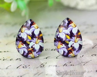 4pcs 18x25mm Purple Flowers Teardrop Glass Cabochons, Handmade Photo Teardrop Glass Dome -- BCH983A