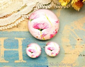 Pink Lotus Glass Domes, 8mm 10mm 12mm 14mm 16mm 18mm 20mm 25mm 30mm Photo Glass Cabochons  - RCH010Z