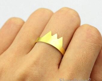 2pcs Raw Brass Mountain Ring, Simple Ring, Adjustable Mount Brass Rings - TR057