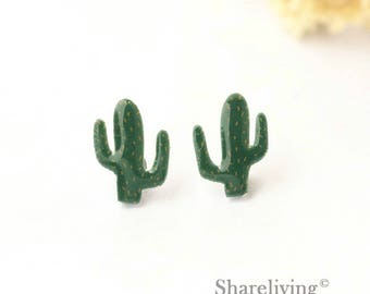 4pcs (2 pairs) Mini Cactus Charm / Pendant, Stud Earring, Laser Cut Tiny Succulent Earring, Perfect for Earring / Ring - YED024R