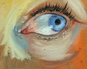 Eye 1 6x6 inch original portrait figure oil painting by Roz