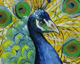 Peacock painting 31 12x12 inch original animal bird portrait oil painting by Roz