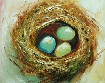 Nest painting 305 12x12 inch original bird nest portrait oil painting by Roz