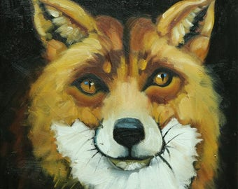 Fox painting 40 12x12 inch original animal portrait oil painting by Roz