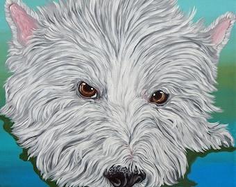 West Highland Retriever Westie 12 x 12 Original Canvas Painting Pet Dog Art-Carla Smale