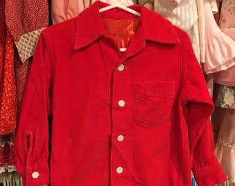 Red Corduroy Shirt 3/4T