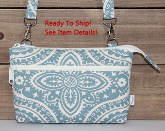 iPhone Wallet Clutch, Cell Phone Crossbody Purse, READY TO SHIP, Fits Any Phone Even In A Case, Gray Blue Medallion and Natural Beige Canvas