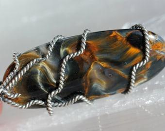 Pietersite Oxidized Silver Wrap Pendant